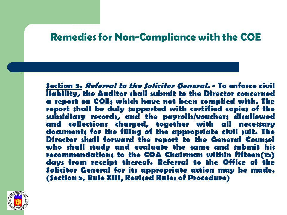 Remedies for Non-Compliance with the COE