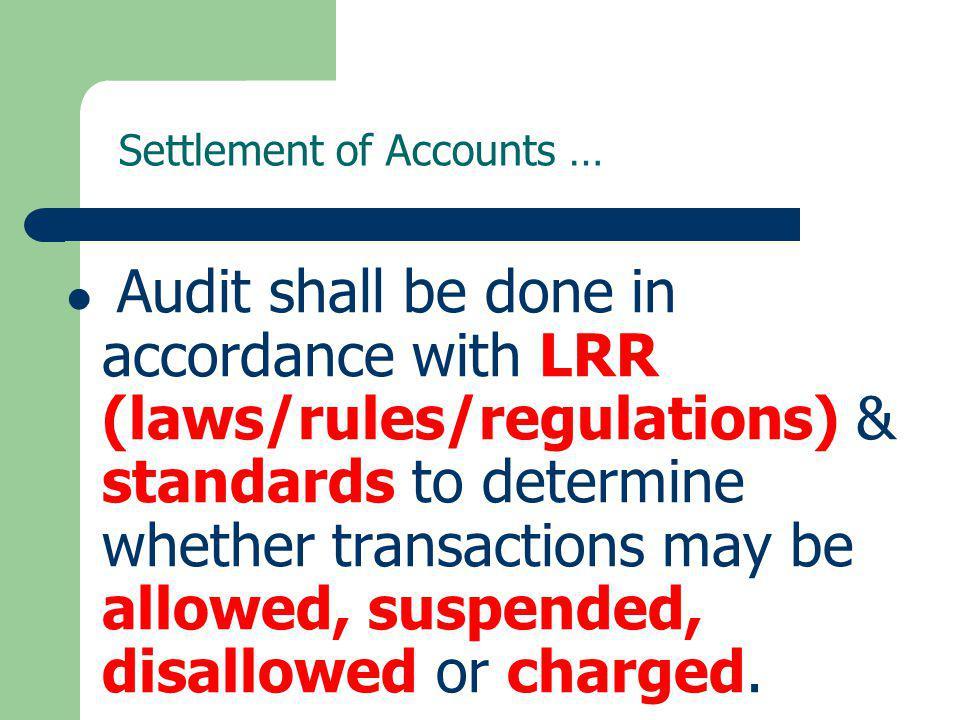 Settlement of Accounts …