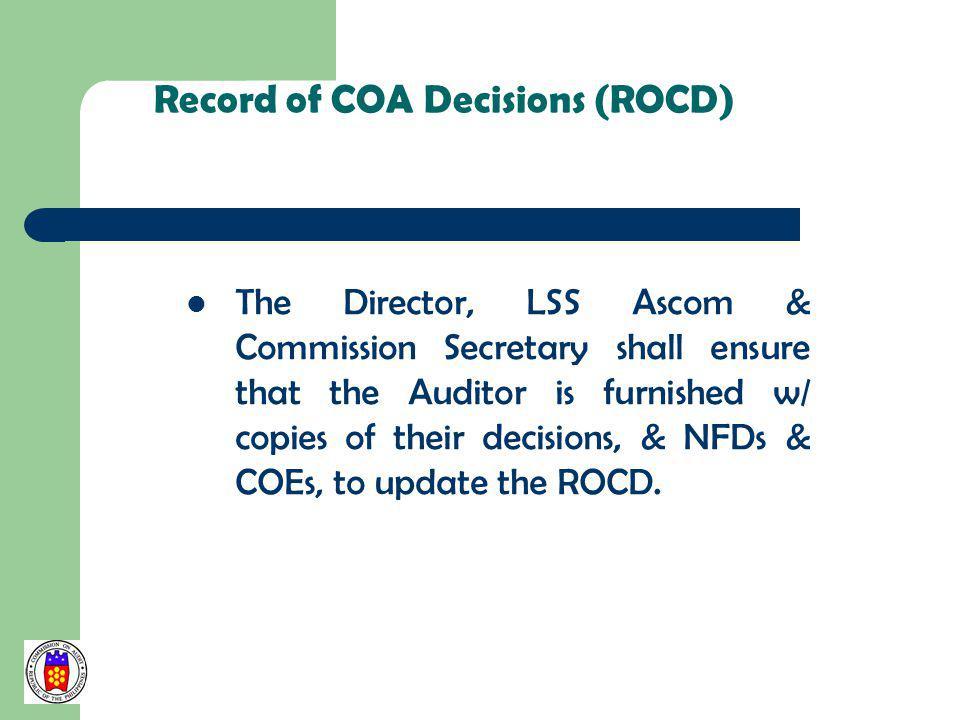 Record of COA Decisions (ROCD)