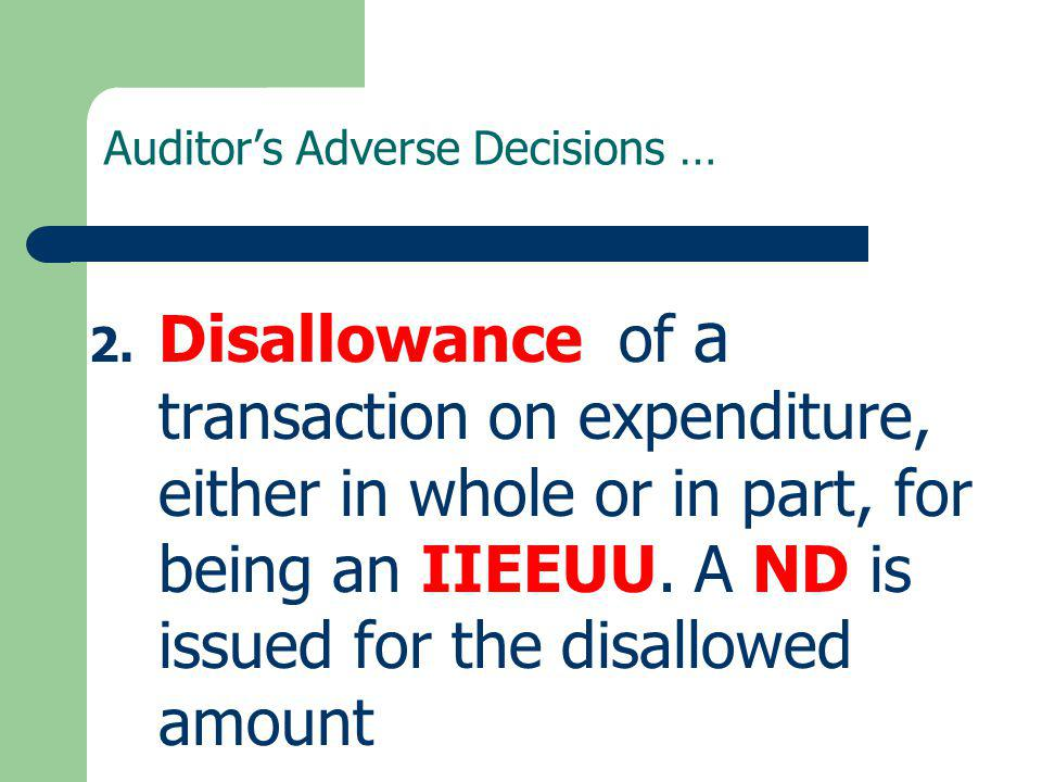 Auditor's Adverse Decisions …