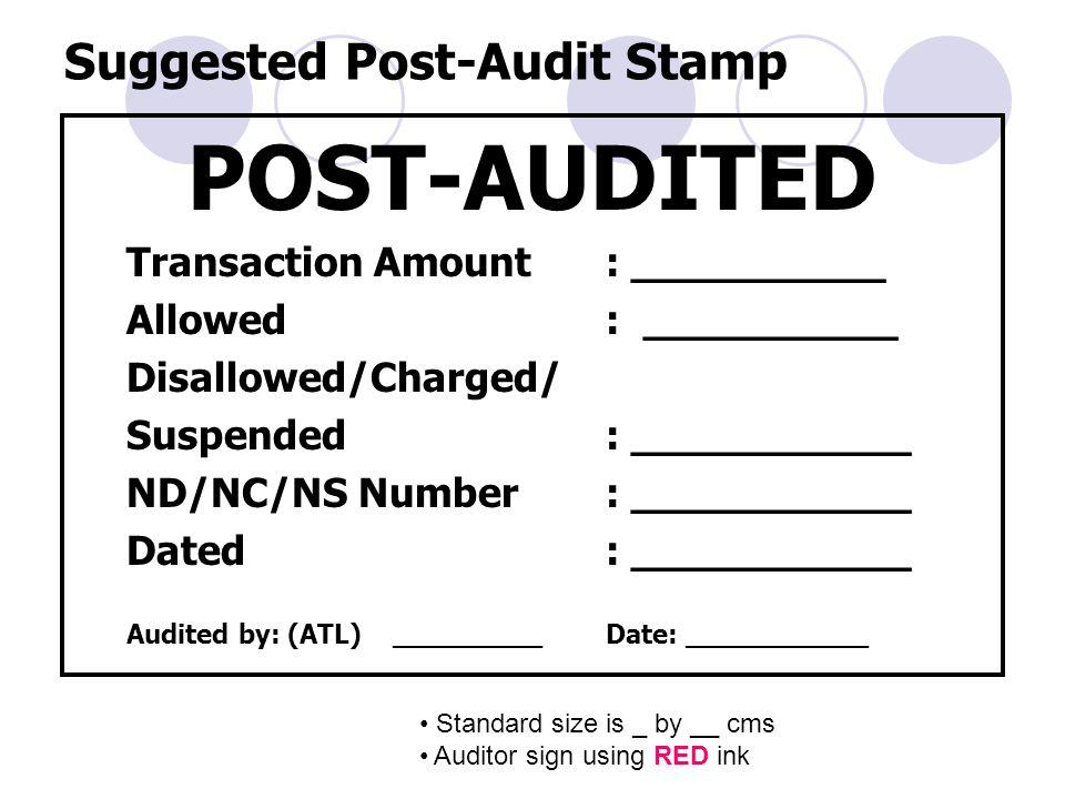 Suggested Post-Audit Stamp