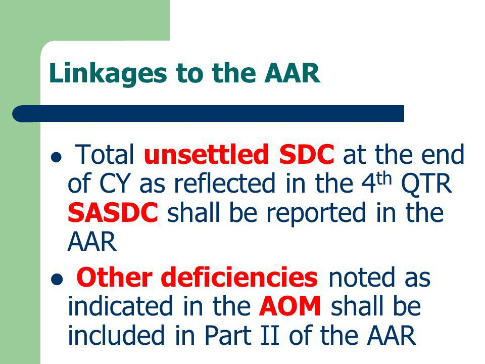 Linkages to the AAR Total unsettled SDC at the end of CY as reflected in the 4th QTR SASDC shall be reported in the AAR.