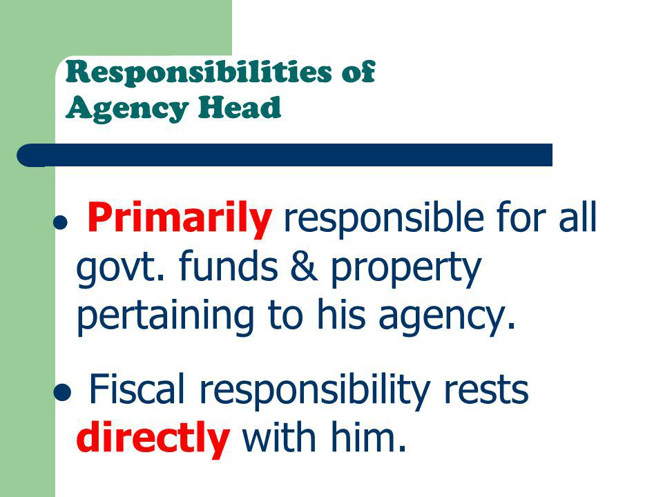 Responsibilities of Agency Head