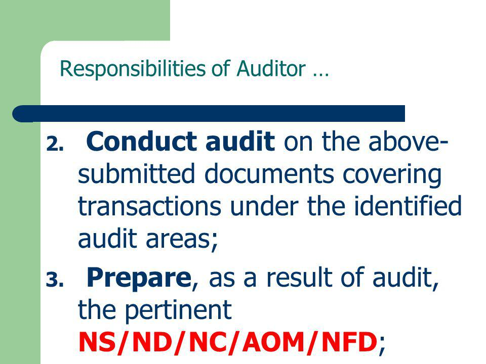 Responsibilities of Auditor …