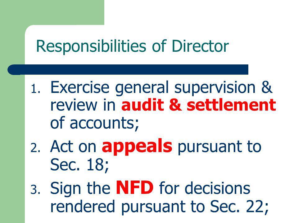 Responsibilities of Director