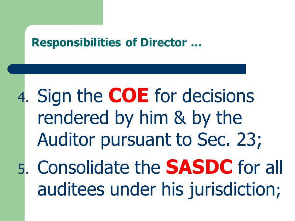 Responsibilities of Director …