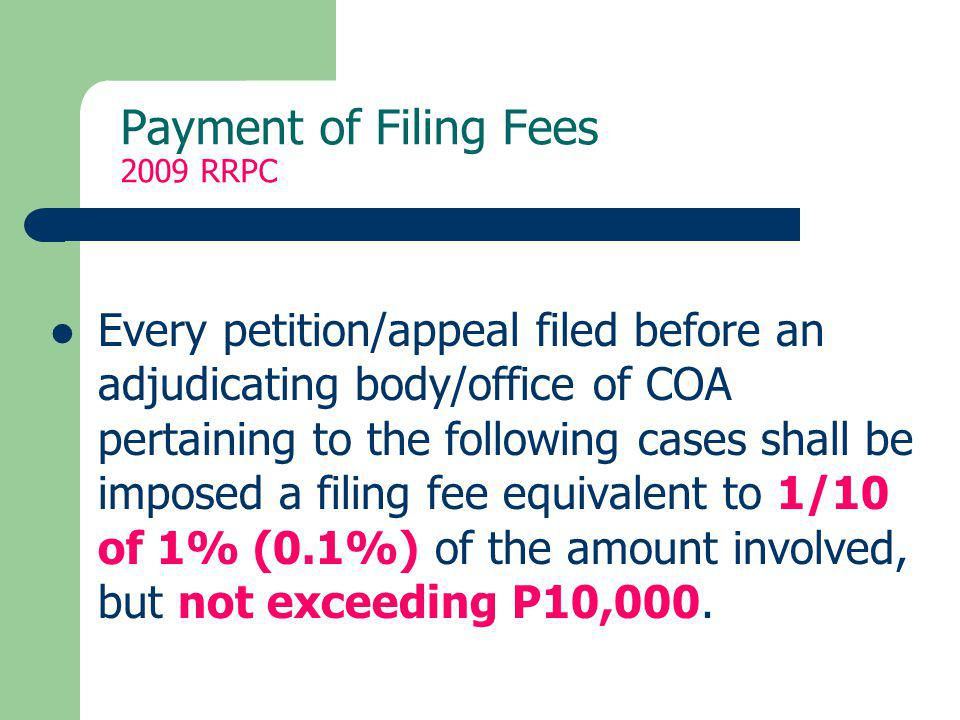 Payment of Filing Fees 2009 RRPC