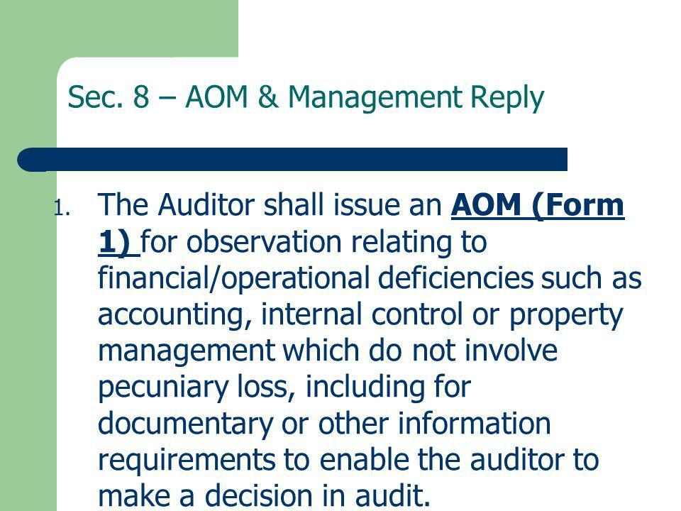 Sec. 8 – AOM & Management Reply