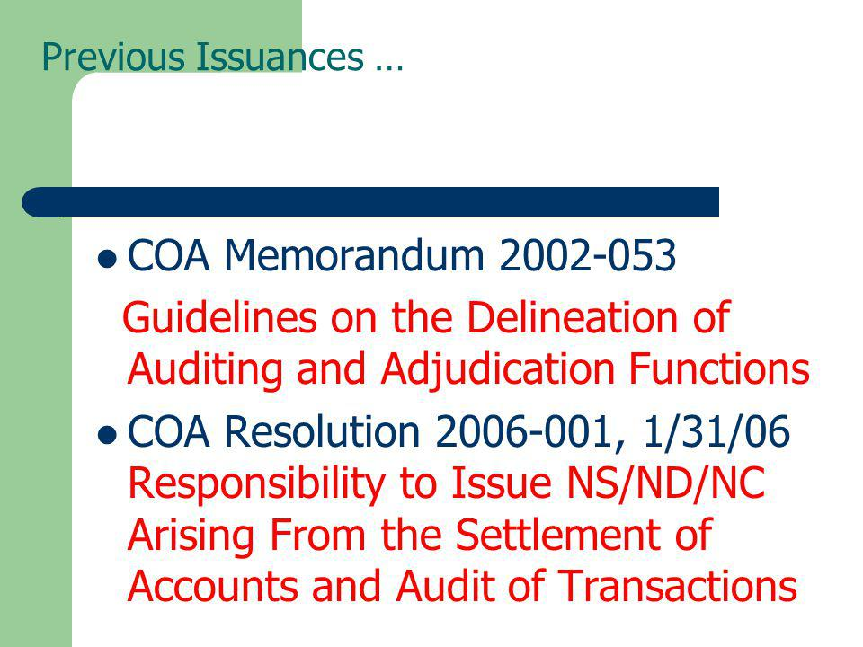 Guidelines on the Delineation of Auditing and Adjudication Functions