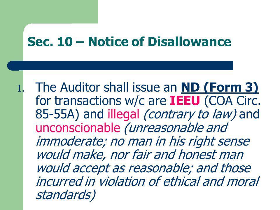 Sec. 10 – Notice of Disallowance