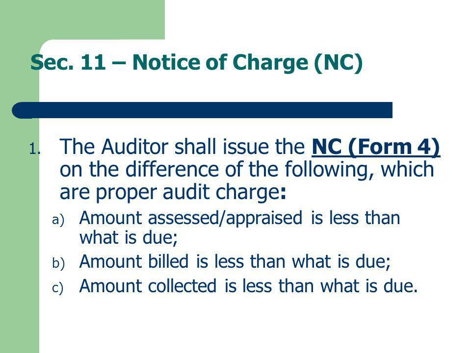 Sec. 11 – Notice of Charge (NC)