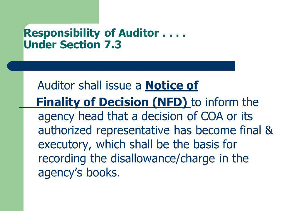 Responsibility of Auditor . . . . Under Section 7.3