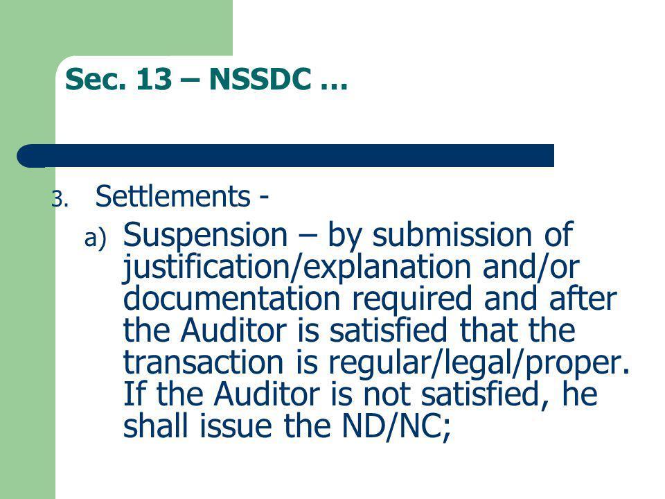 Sec. 13 – NSSDC … Settlements -