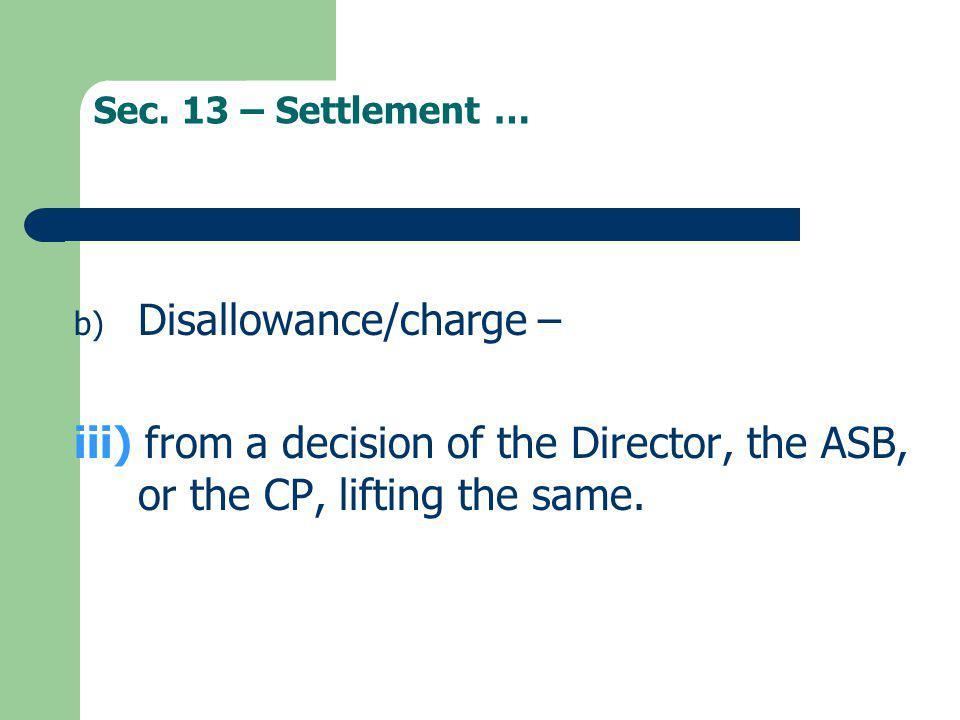 Disallowance/charge –
