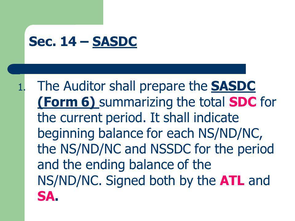 Sec. 14 – SASDC