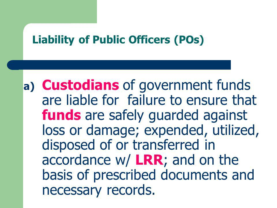 Liability of Public Officers (POs)