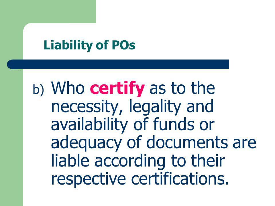 Liability of POs