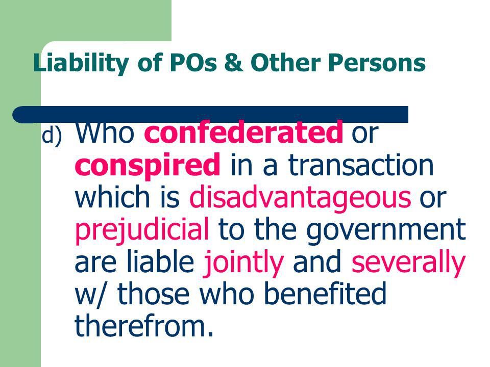 Liability of POs & Other Persons