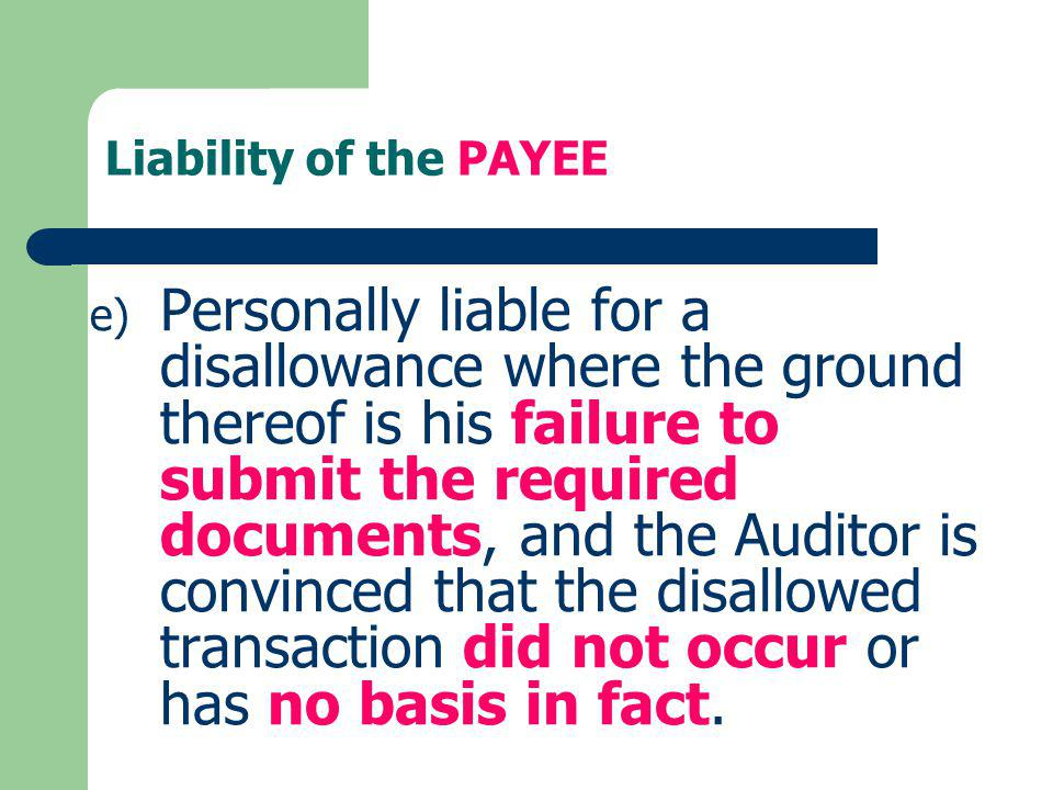 Liability of the PAYEE