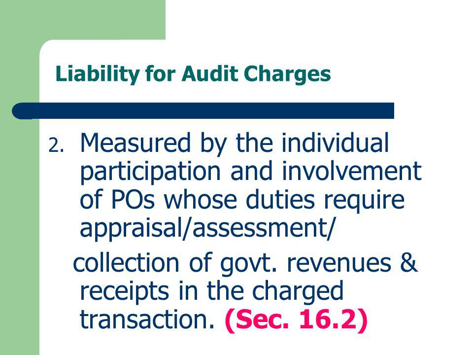 Liability for Audit Charges