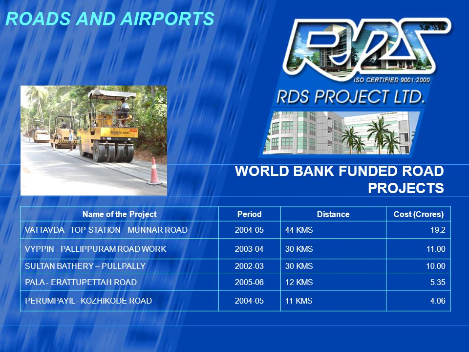 ROADS AND AIRPORTS WORLD BANK FUNDED ROAD PROJECTS Name of the Project