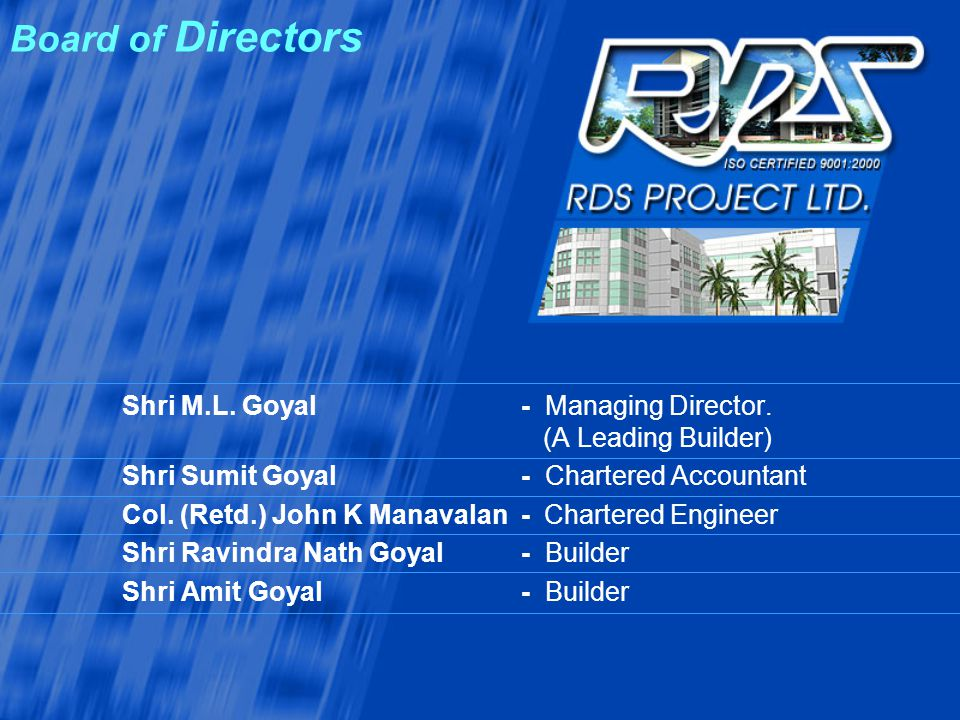 Board of Directors Shri M.L. Goyal - Managing Director. (A Leading Builder) Shri Sumit Goyal - Chartered Accountant.