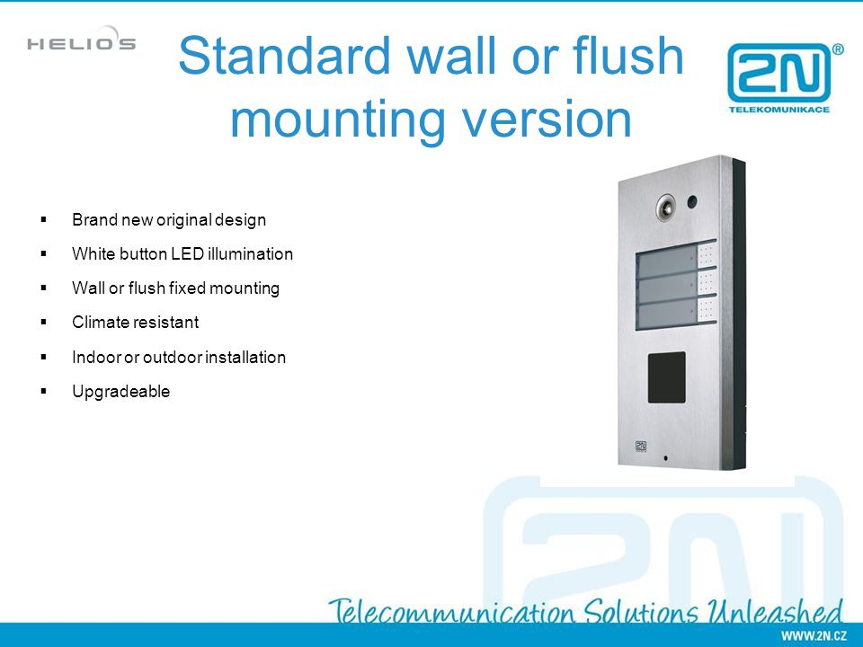 Standard wall or flush mounting version
