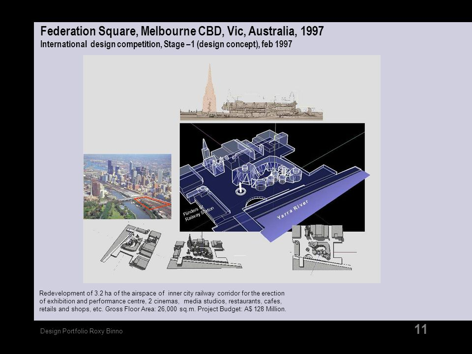 Federation Square, Melbourne CBD, Vic, Australia, 1997 International design competition, Stage –1 (design concept), feb 1997