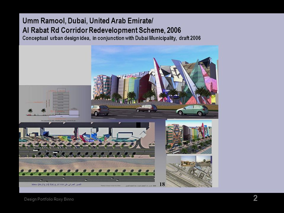 Umm Ramool, Dubai, United Arab Emirate/ Al Rabat Rd Corridor Redevelopment Scheme, 2006 Conceptual urban design idea, in conjunction with Dubai Municipality, draft 2006