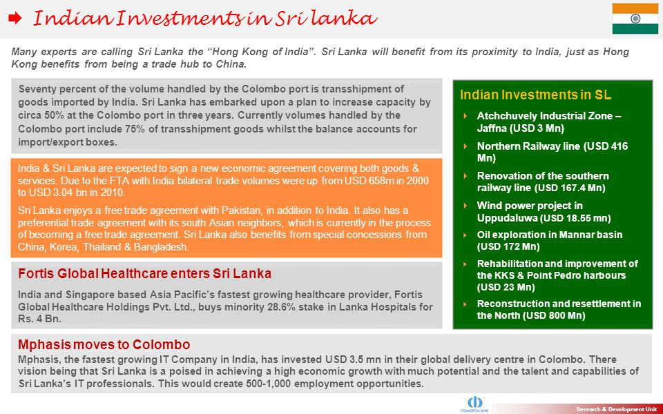 Indian Investments in Sri lanka