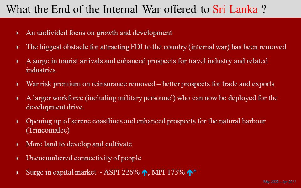 What the End of the Internal War offered to Sri Lanka