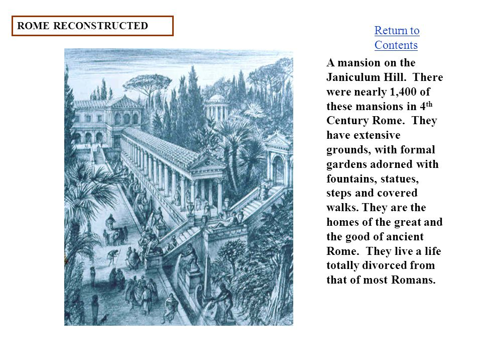 ROME RECONSTRUCTED Return to Contents.