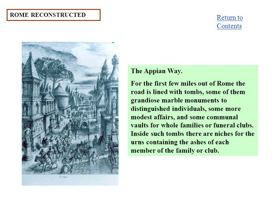 Return to Contents The Appian Way.