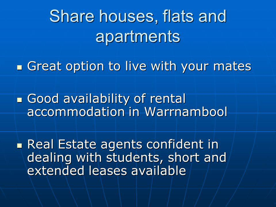 Share houses, flats and apartments