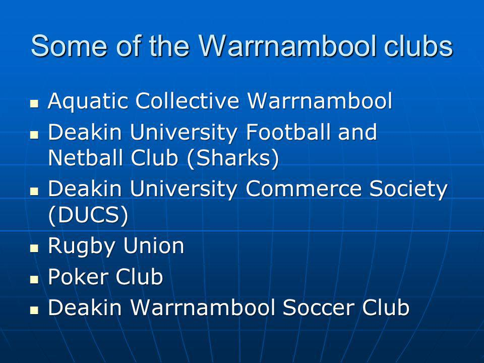 Some of the Warrnambool clubs