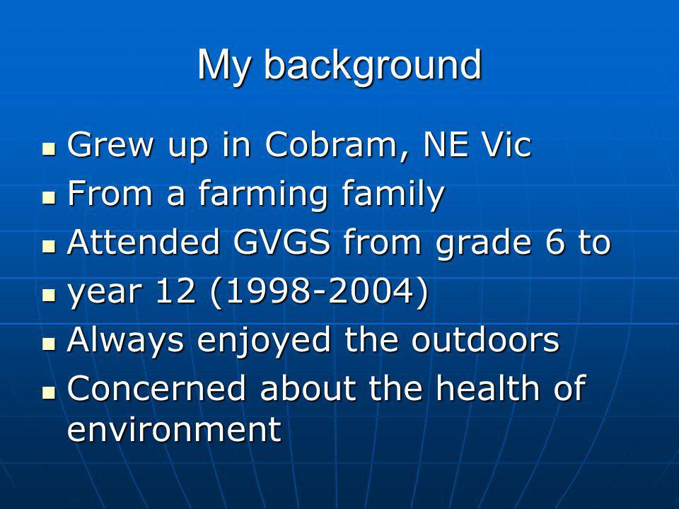 My background Grew up in Cobram, NE Vic From a farming family
