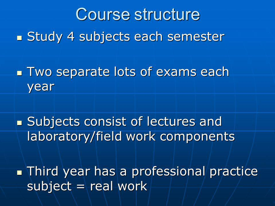 Course structure Study 4 subjects each semester