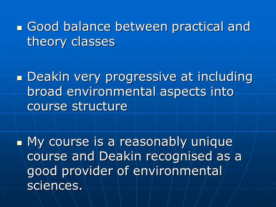 Good balance between practical and theory classes