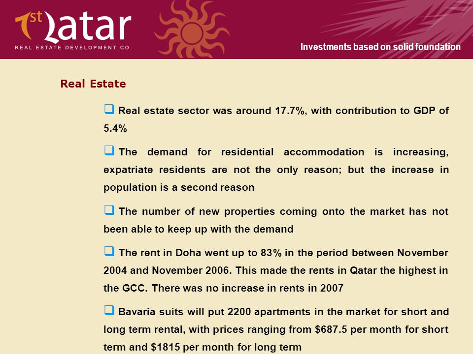 Real Estate Real estate sector was around 17.7%, with contribution to GDP of 5.4%