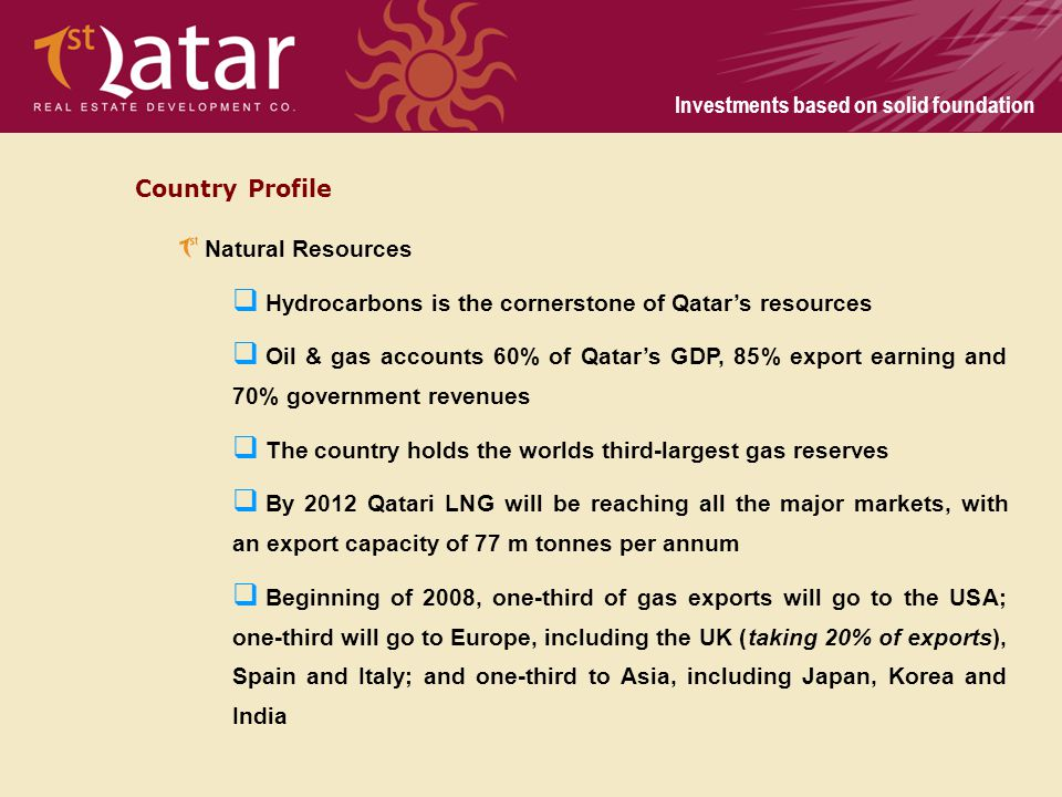 Country Profile Natural Resources. Hydrocarbons is the cornerstone of Qatar's resources.