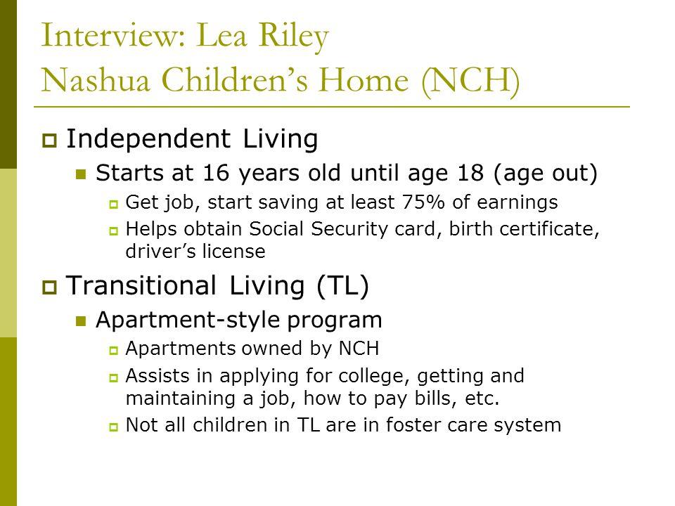 Interview: Lea Riley Nashua Children's Home (NCH)