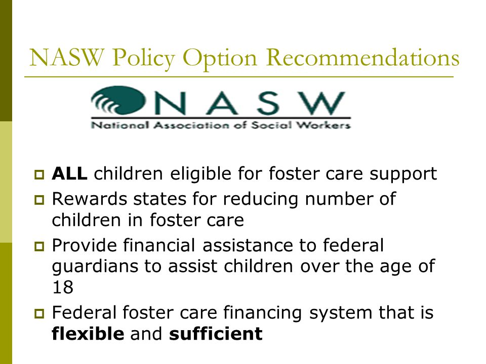 NASW Policy Option Recommendations