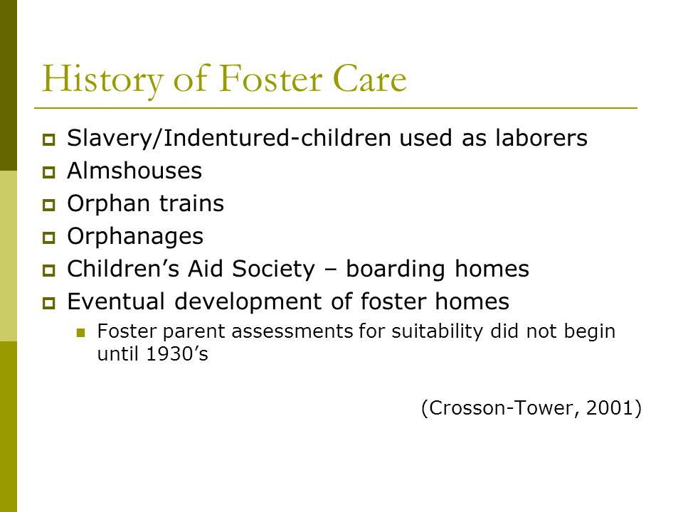 History of Foster Care Slavery/Indentured-children used as laborers