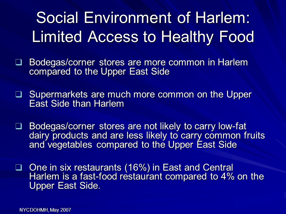 Social Environment of Harlem: Limited Access to Healthy Food