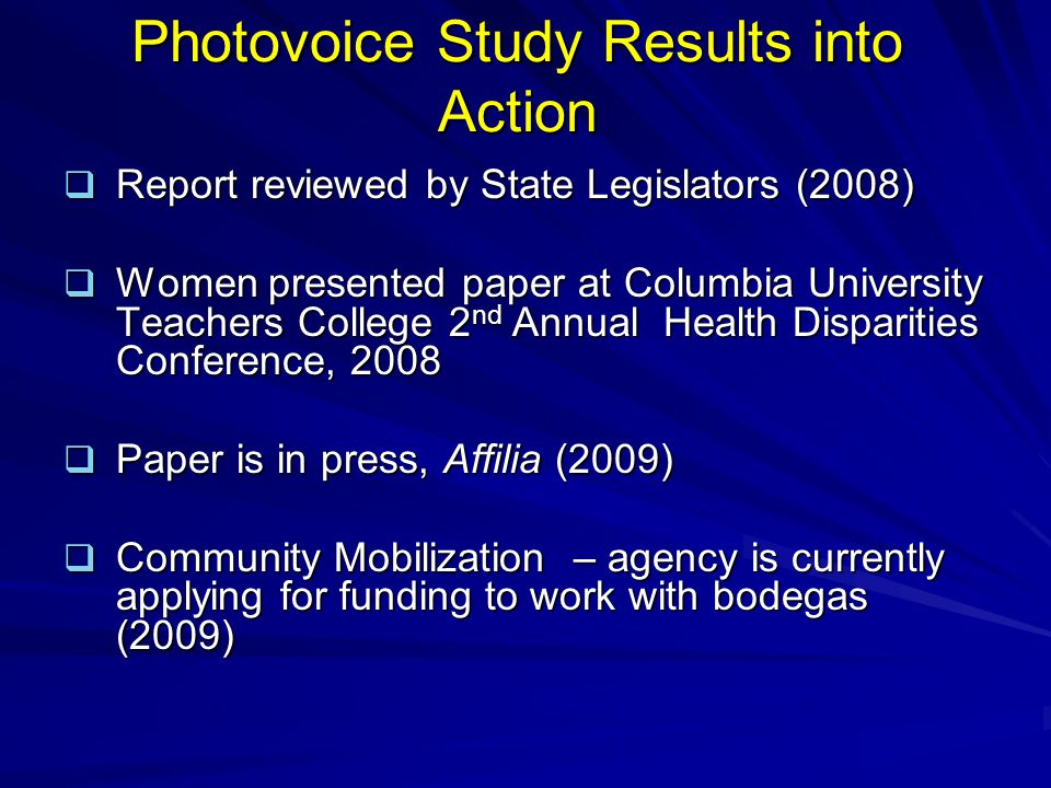 Photovoice Study Results into Action