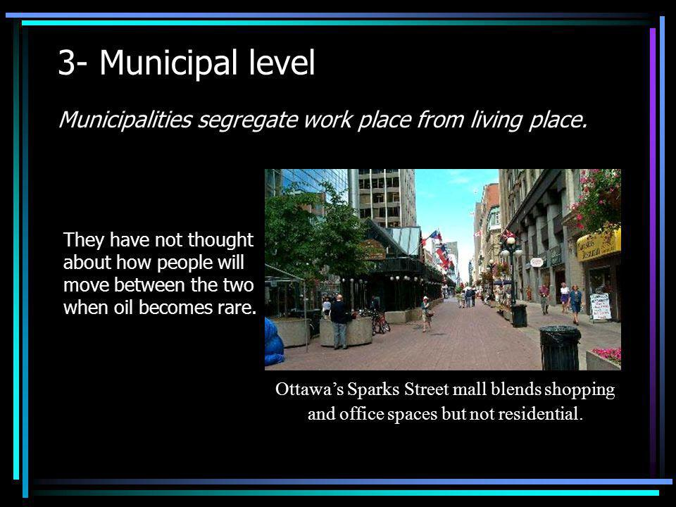 3- Municipal level Municipalities segregate work place from living place.