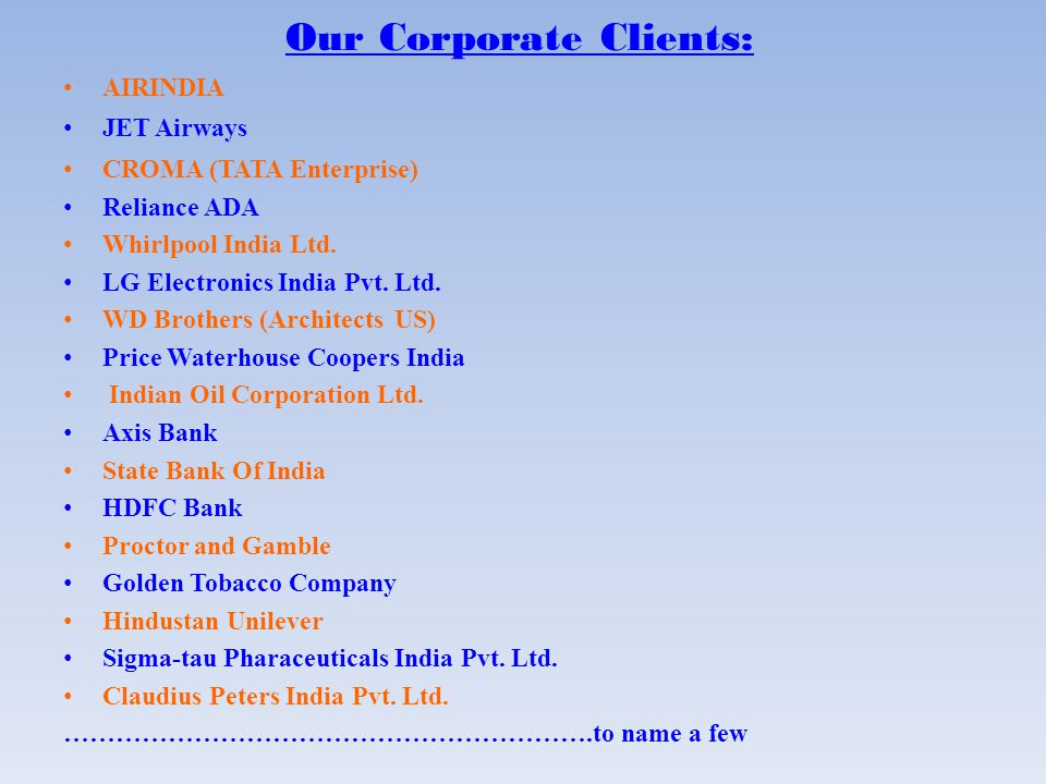 Our Corporate Clients: