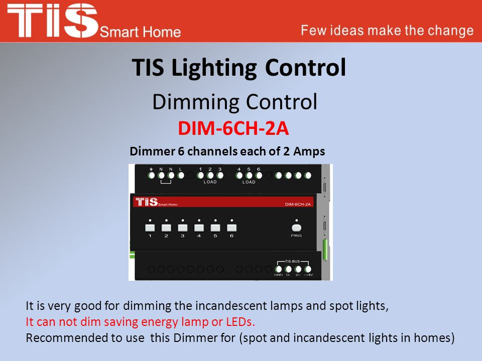 TIS Lighting Control Dimming Control DIM-6CH-2A