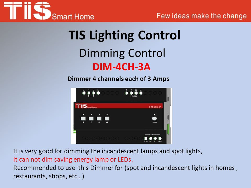 TIS Lighting Control Dimming Control DIM-4CH-3A