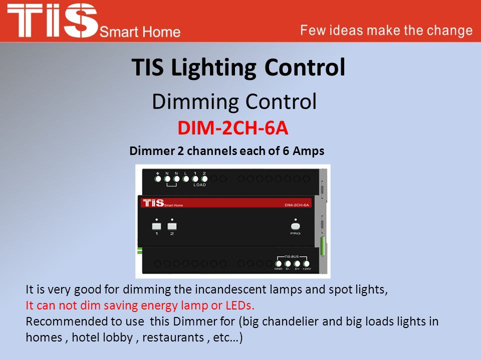 TIS Lighting Control Dimming Control DIM-2CH-6A